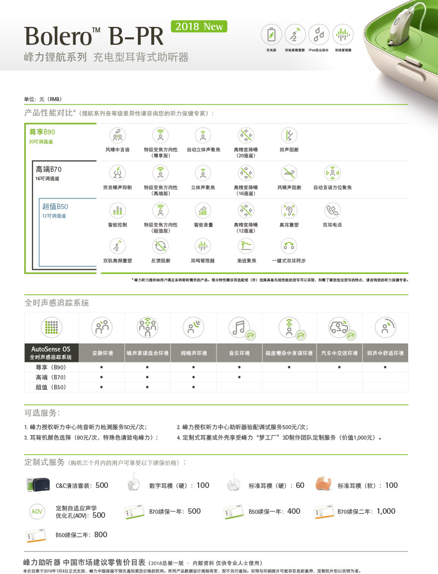 峰力新品锂航系列充电型耳背式助听器Bolero B50-PR型号价格