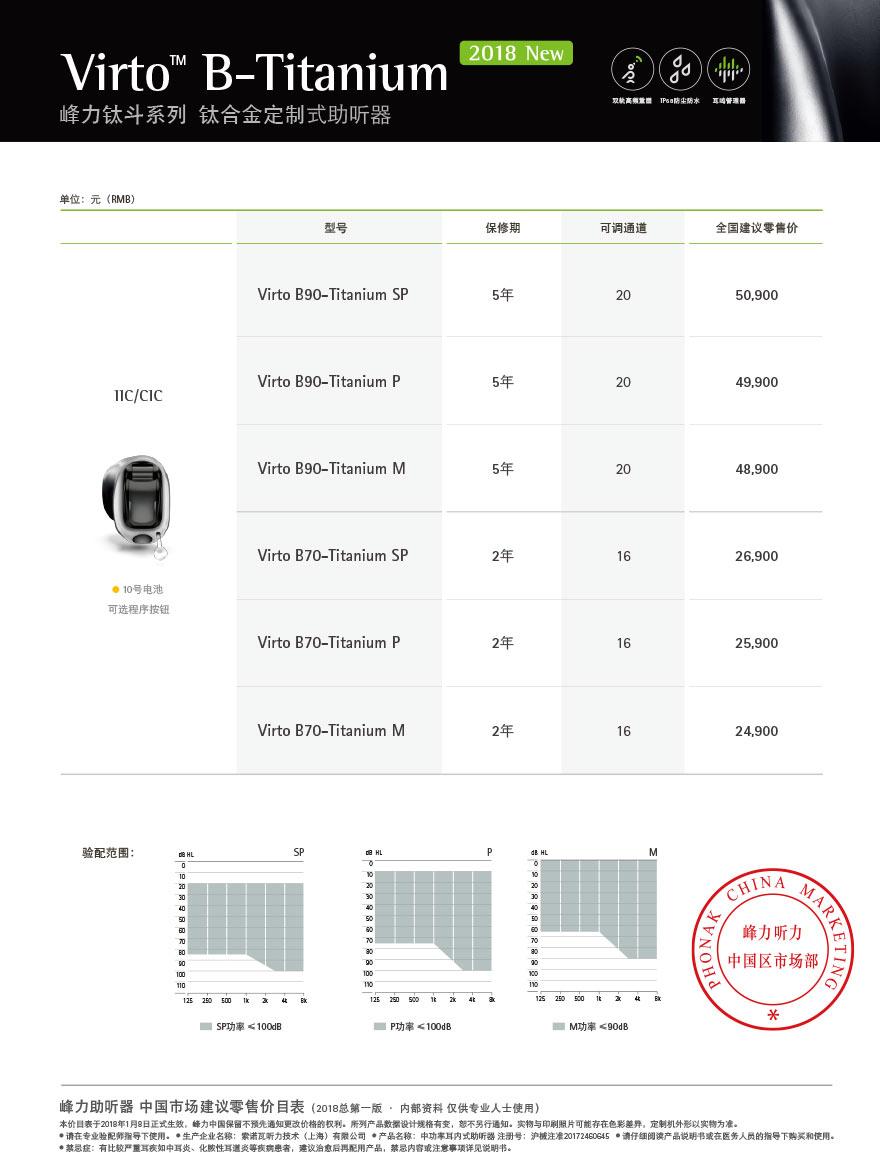 峰力新品钛斗系列钛合金定制式助听器Virto B70-Titanium SP价格表